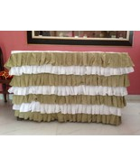 White Sage Voile Layered Table Skirt - Ruffle Layered Complete Table Cover - $129.99+