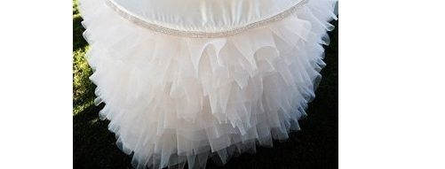WHITE Tulle Layered Complete Table Cover
