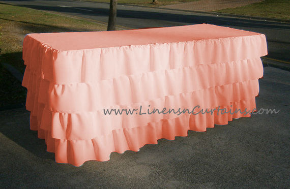 PEACH Layered Table Skirt Cotton - Ruffle Layered Complete Table Cover
