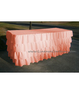 PEACH Layered Table Skirt Cotton - Ruffle Layered Complete Table Cover - $98.99+