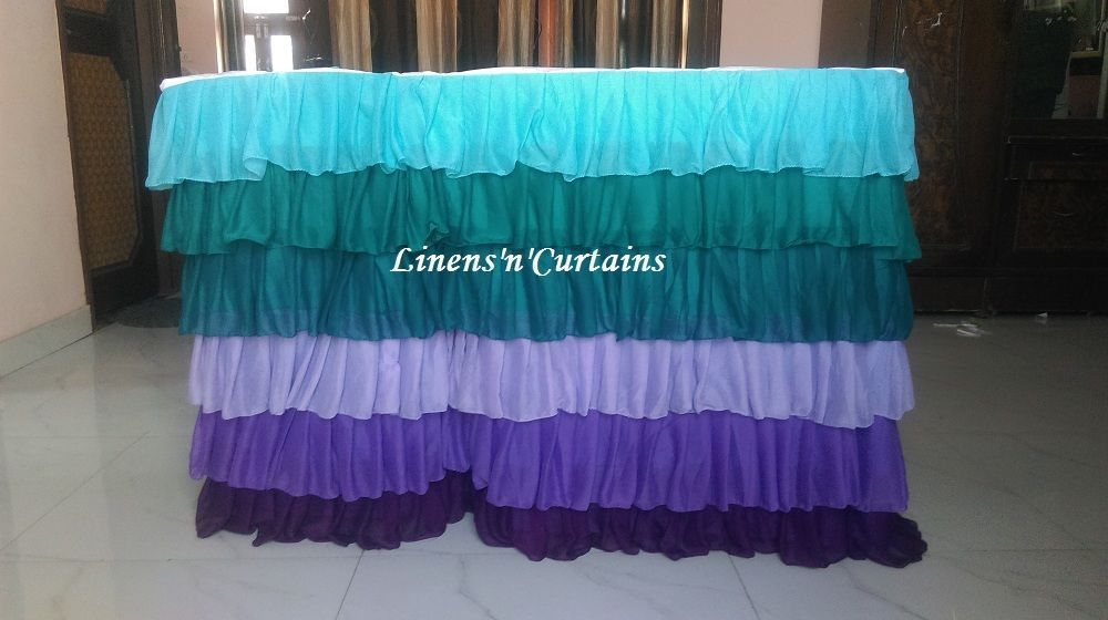TEAL PURPLE Layered Table Skirt Cotton - Ruffle Layered Complete Table Cover
