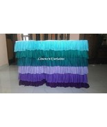 TEAL PURPLE Layered Table Skirt Cotton - Ruffle Layered Complete Table C... - $128.69+