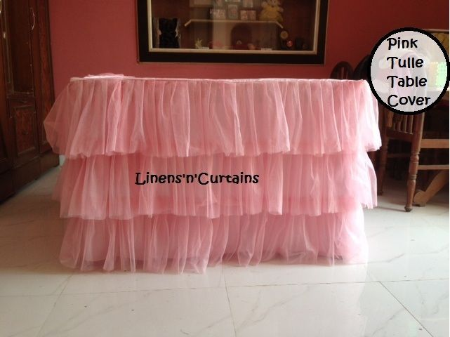 PINK Tulle Layered Complete Table Cover