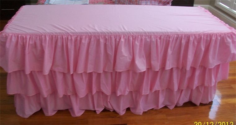 PINK Layered Table Skirt Cotton - Ruffle Layered Complete Table Cover
