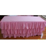 PINK Layered Table Skirt Cotton - Ruffle Layered Complete Table Cover - $99.99+
