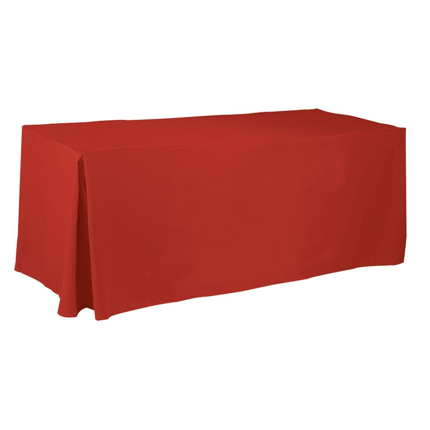RED Cotton Fitted Table Cover - Complete Table Cover