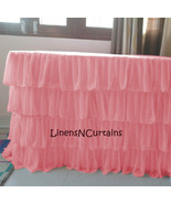 PINK Layered Table Skirt Cotton Chiffon - Ruffle Layered Complete Table ... - $98.99+