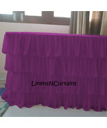 PURPLE Layered Table Skirt Cotton Chiffon - Ruffle Layered Complete Tabl... - $98.99+