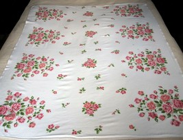Wilendur Pink Royal Rose Tablecloth Vintage 1950s Flowers 50x60 Inches C... - $29.99