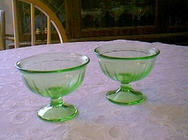 "Green Colonial Fluted ""Rope"" 5 Pieces  Federal Glass Co. - $11.88"