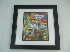 """Print Picture French Italian Chef Cook Black Wood Framed Kitchen Wall Art 14"""" sq - $19.26"""