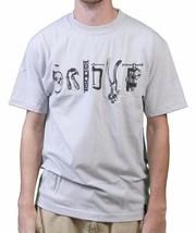 Orisue Hommes Argent Gris Clair Main Outils Arts et Artisanat T-Shirt Nwt