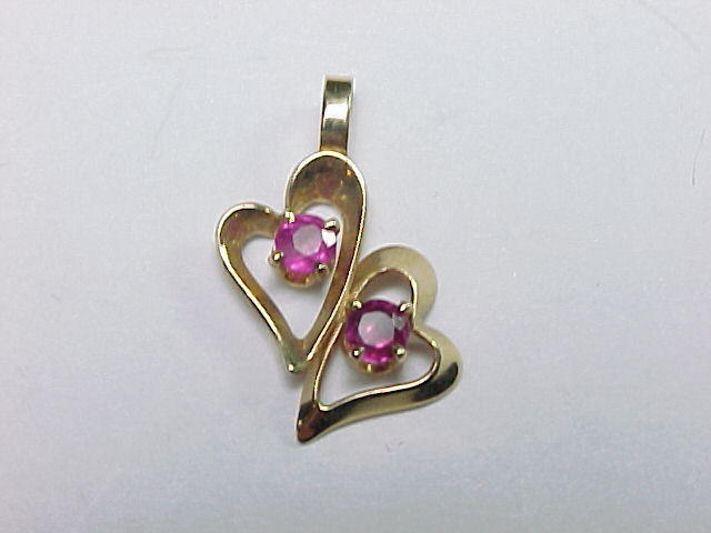 PINK SAPPHIRE Vintage PENDANT in 14K GOLD - Double Hearts - FREE SHIPPING
