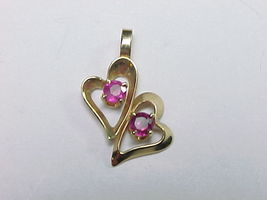 PINK SAPPHIRE Vintage PENDANT in 14K GOLD - Double Hearts - FREE SHIPPING - $80.00