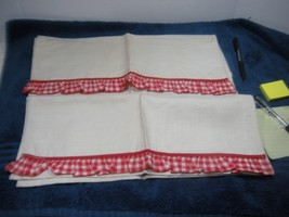 Mid Century Huck tea towels Christmas Red White check linen 16X26 2 pc lot - $15.00