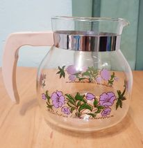 Vintage MAASTRICHT RANDWYCK HOLLAND GLASS COFFEE pitcher jar with purple... - $29.97