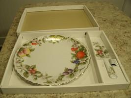 Beautiful Andrea by Sadek Fine Porcelain Cake Plate w Server Set in Box ... - $19.55