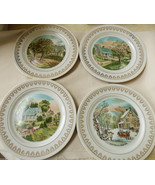 Vintage Currier & Ives set of 4 Seasons Plates Spring Summer Autumn Wint... - $64.35