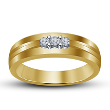 14k Yellow Gold Finish 925 Silver Round Cut White Sim. Diamond Three Stone Ring - £48.61 GBP