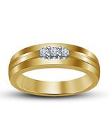 14k Yellow Gold Finish 925 Silver Round Cut White Sim. Diamond Three Sto... - $63.69