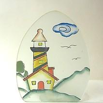 Candle Holder Lighthouse Orange Yellow - $8.04