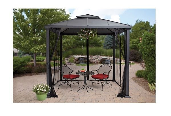 Hard top gazebo netting insect screen curtain mesh canopy - Insect netting for gazebo ...