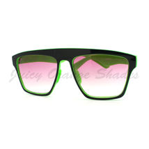 New Unisex Sunglasses Square Arched Top Robot Frame 2-Tone BLACK GREEN - $6.88