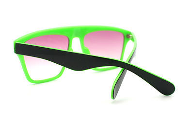 New Unisex Sunglasses Square Arched Top Robot Frame 2-Tone BLACK GREEN