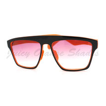 New Unisex Sunglasses Square Arched Top Robot Frame 2-Tone BLACK ORANGE - $6.88