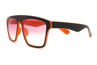 New Unisex Sunglasses Square Arched Top Robot Frame 2-Tone BLACK ORANGE