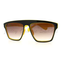 New Unisex Sunglasses Square Arched Top Robot Frame 2-Tone BLACK YELLOW - $6.88