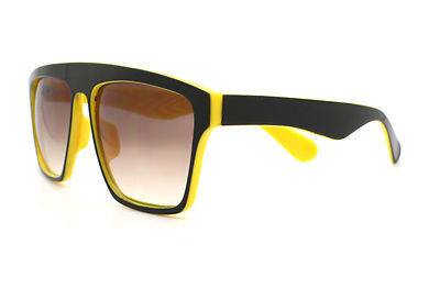New Unisex Sunglasses Square Arched Top Robot Frame 2-Tone BLACK YELLOW
