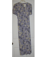 Blue Floral Linen Miss Dorby Long Dress Sz 10 - $30.00