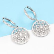 Luxury Diamond Drop Earrings 18k White Gold Female Lace Flower Design image 2