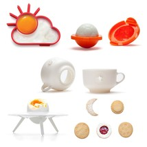 Kids Food Fun Set 4 Designer Food Decor Gifts Egg cup Cookie Shapers Bar... - $85.00