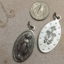 "Miraculous Medal Our Lady of Grace Mary Catholic Silver Pendant Charm 1 3/4"" - $6.95"