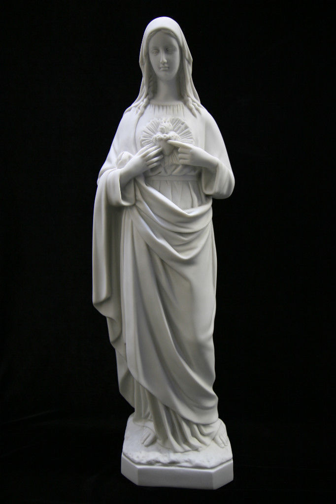 "Primary image for 25"" Immaculate Heart of Mary Blessed Mother White Statue Sculpture Made in Italy"