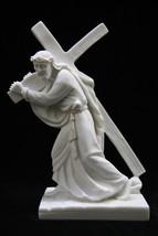 Jesus Christ Carring the Cross Italian Statue Sculpture Vittoria Made in... - $59.95