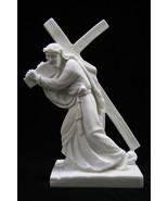 Jesus Christ Carring the Cross Italian Statue Sculpture Vittoria Made in Italy - $59.95