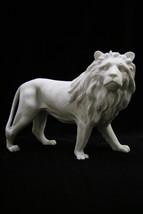 Standing Aggressive Lion Italian White Statue Sculpture Vittoria Made in... - $59.95