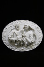 Holy Family Joseph Jesus Mary Wall Plate Plaque Statue Vittoria Made in Italy - $99.95