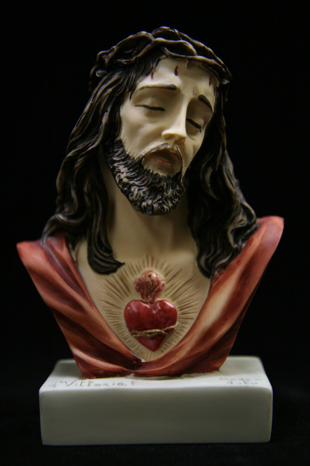 Bust of Jesus Christ Sacred Heart Italian Statue Sculpture Figurine Made Italy - $34.95