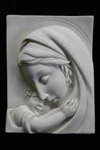 Virgin Mary and Jesus Catholic Religious Statue Plate Plaque Made in Italy - $44.95