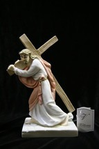 Jesus Christ Carring the Cross Catholic Italian Statue Sculpture  Made i... - $59.95
