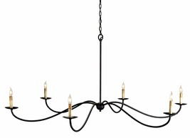 CURREY & CO COMPANY 9267 Saxon 6 Light Chandelier, WROUGHT IRON, Traditi... - £931.67 GBP