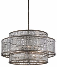 CURREY & CO COMPANY 9454 Fantine Chandelier, WROUGHT IRON & GLASS, Mid C... - £1,518.86 GBP