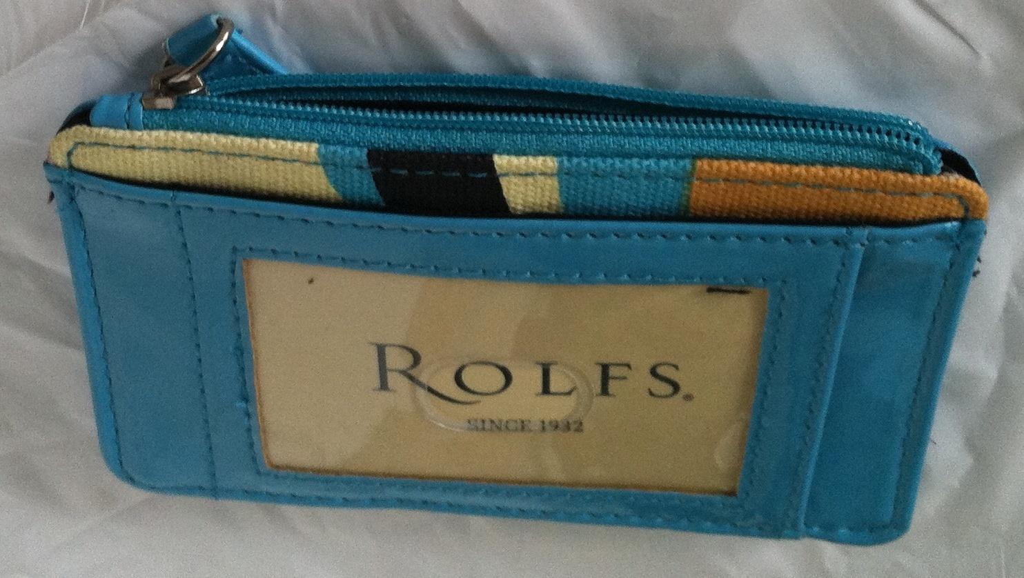 Rolfs Zip Around Leather Mini Slim Organizer Blue Wallet Card Holder Wallet