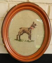 Vintage Needlepoint Boxer Dog Oval Wood Frame M... - $69.78