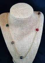 Swarovski Swan Gold Chain Color Crystal Beads Necklace - $29.50