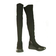 Michael Kors Grover Black Stretch Sneaker w. Sock Over The Knee Boots Shoes 37 - $163.15